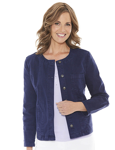 Ladies' Collarless Stretch Cotton Jacket