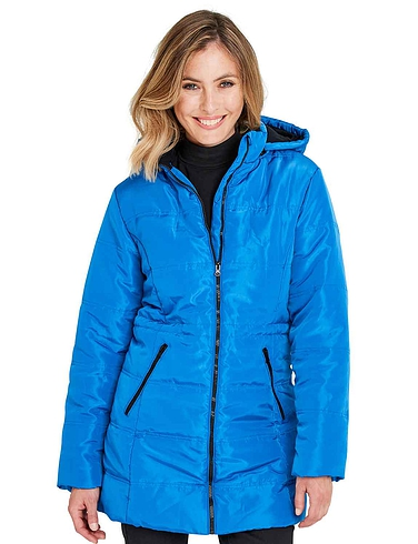Padded Fleece Lined Hood Jacket with 2 Front Zip Pockets 34 Inch