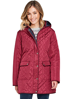 Diamond Quilted Padded Contrast Trim Woven Shower Jacket