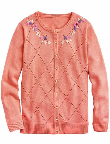 Hand Embroidered Pointelle Cardigan