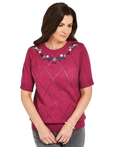 Hand Embroidered Pointelle  Short Sleeve Jumper