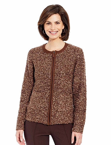 Boucle Zip Cardigan with Wool