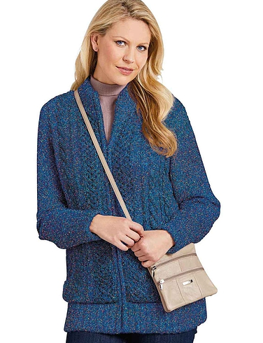 Ladies Borg Fleece Lined Zip Cardigan