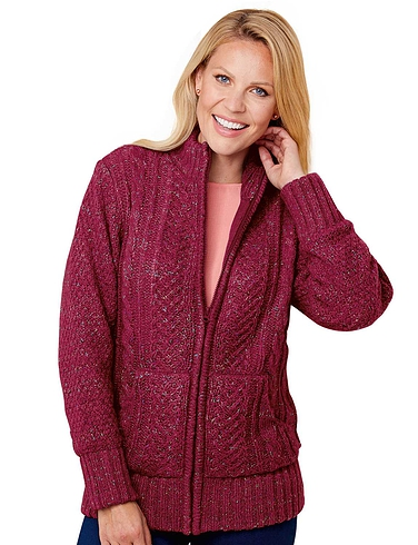 Ladies Borg Fleece Lined Zip Cardigan