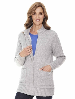 Fleece Lined Zip Cardigan
