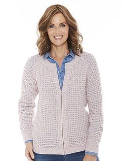 Ladies' Textured Marl Knit Zip Cardigan