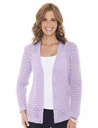 Pointelle Ladies Knit Cardigan