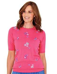 Embroidered Floral And Butterfly Short Sleeve Jumper