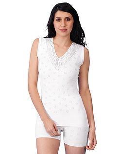 Cotton Lace Trim Sleeveless V Neck Vest