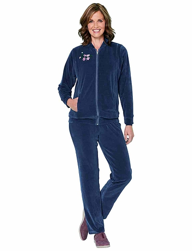 Embroidered Velour Leisuresuit