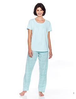 Print & Lace Trim Spot Pyjama