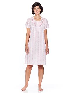 Stripe Embroidered Nightdress