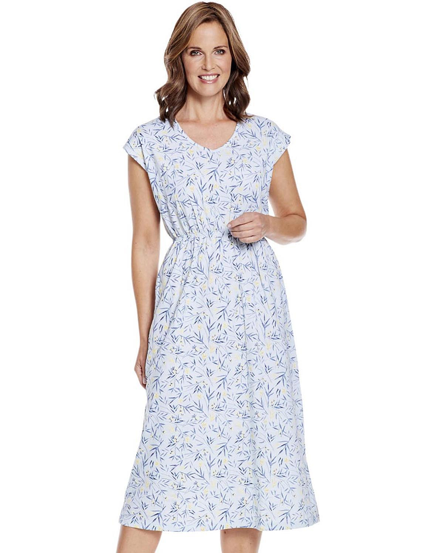 Kaftan Style Jersey Nightdress - Blue