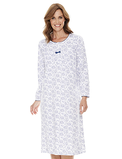 Long Sleeve Cotton Print Nightdress
