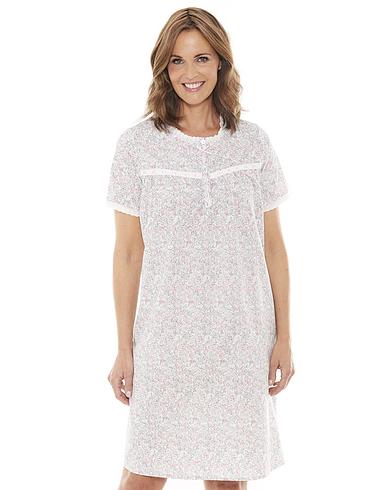 Short Sleeved Lace Trim Nightdress