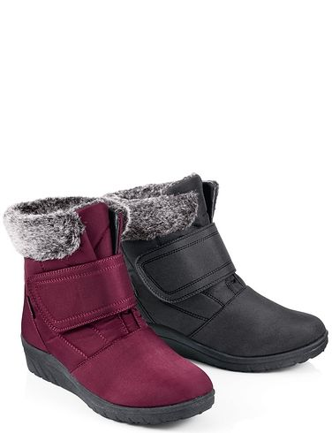 Cushion Walk Touch Fastening Boot With Faux Fur Ankle Collar
