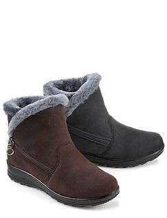 Cushion Walk Warm Lined Boot With Side Zip