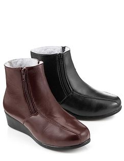 Ladies Leather Twin Zip Wool Lined Boot
