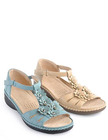 Leather Lined Easy Fit Adjustable Comfort Sandal