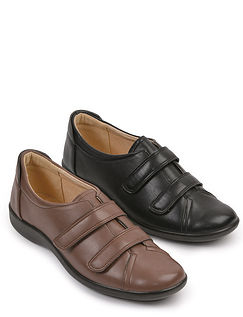 Cushion Walk Leather Lined Adjust To Fit Comfort Shoe