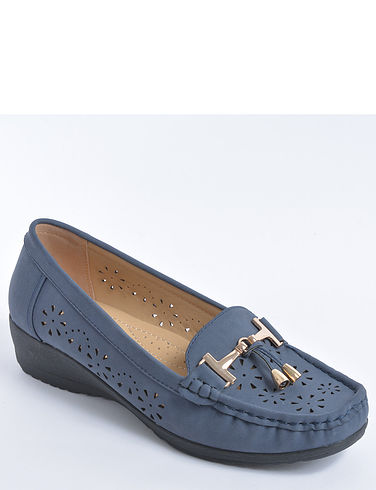 Slip On Loafer With Wedge Heel