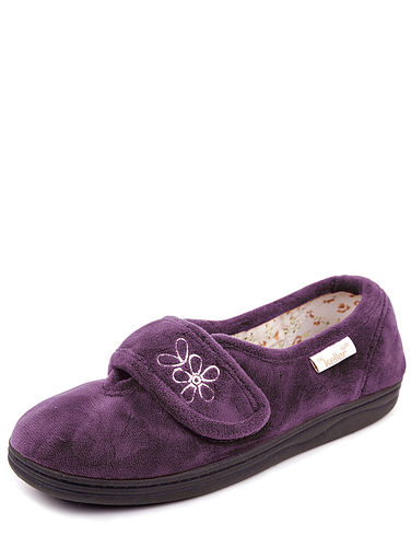 Dr Keller Washable Touch Fasten Slipper With Memory Foam Insole.