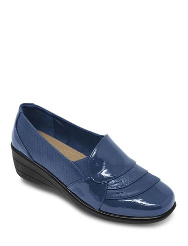 Patent Trim Twin Gusset Comfort Shoe