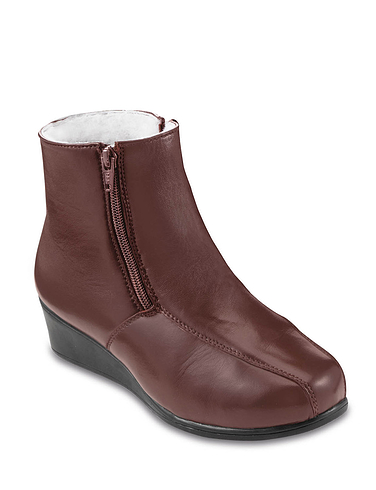 Leather Twin Zip Wool Lined Boot