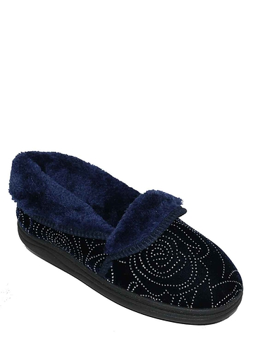 Ladies Glitter Faux Fur Trim Slipper Mavis