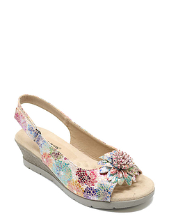 Ladies Cushion-Walk Wedge Flower Sandal