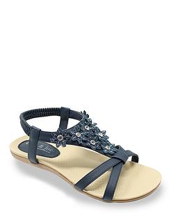 Ladies Lace and Diamante Trim Sandal