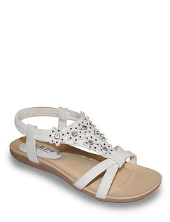Ladies Lace and Diamante Trim Sandal