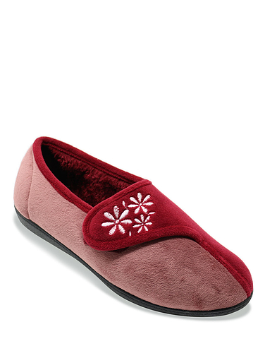 Touch and Close Embroidered Slipper Dahlia