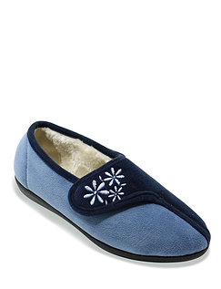 Touch and Close Emboidered Slipper Dahlia