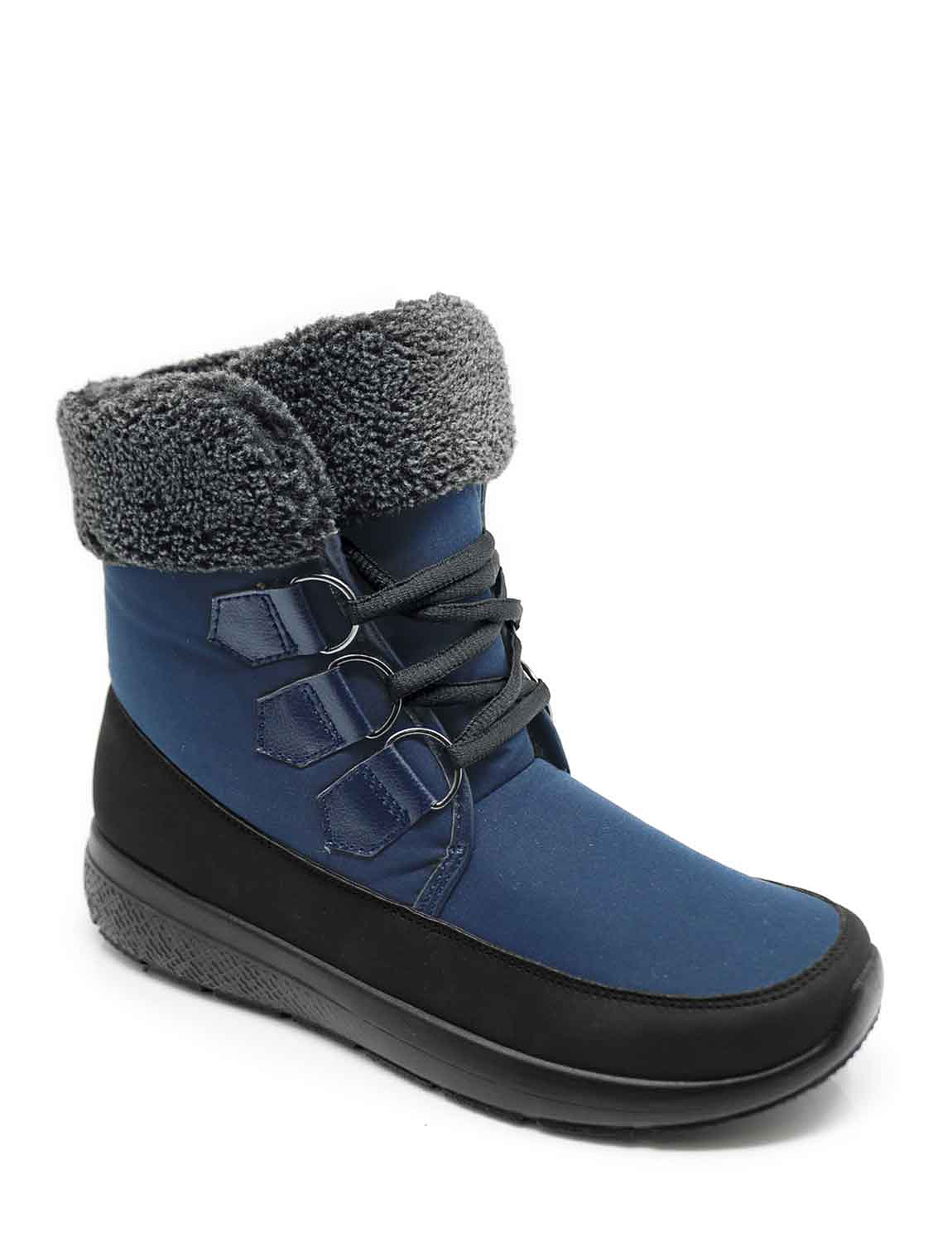 Dr Keller Wide E Fit Lace Up Outdoor Fleece Top Boot  - Blue