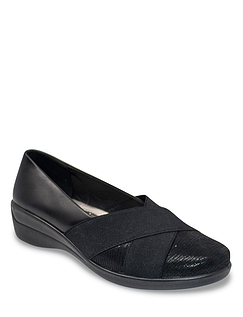 Ladies Contrast Fabric Comfort Shoe
