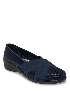 Ladies Contrast Fabric Comfort Shoe