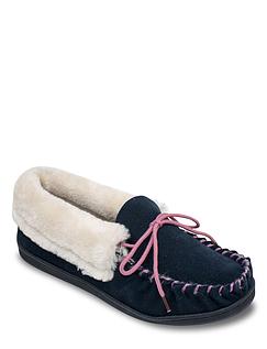 Ladies Suede Moccasin Slipper