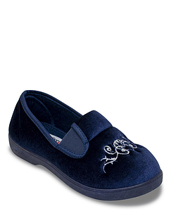 Wide Fit Embroidered Velour Slipper