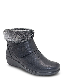 Cushion Walk Thermal Faux Fur Trim Touch Fastening Boot