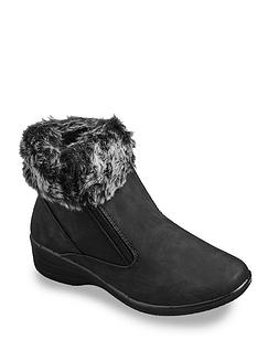 Dr Keller Wide Fit Faux Fur Trim Boot E Fit