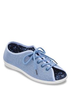 Dr Keller Wide Fit Lace Up Canvas Shoe Annis