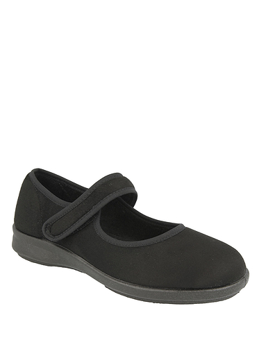 Wide Fit Touch Fasten Strech Slipper by DB Shoes EE-4E