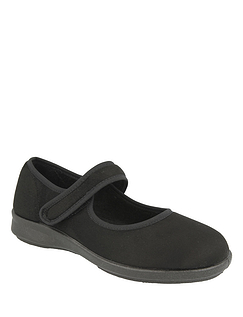 Wide Fit Touch Fasten Stretch Slipper by DB Shoes 6E-8E