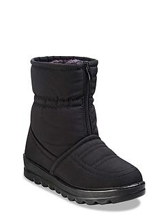 Ladies Wide Fit Water Resistant Fabric Front Zip Boot