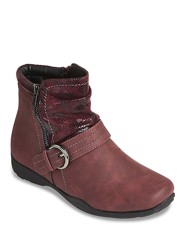 Dr Keller Wide Fit Thermal Lined Buckle Ankle Boot