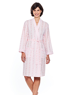 Stripe And Floral Print  Robe