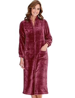 Zip Through Cable Design Embossed Fleece Dressing Gown