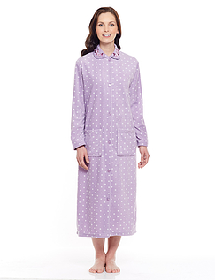 Spot and Embroidered Dressing Gown