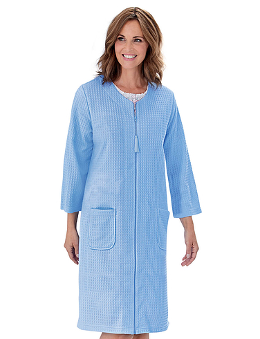 Waffle Zip Robe with Three-Quarter Length Sleeves